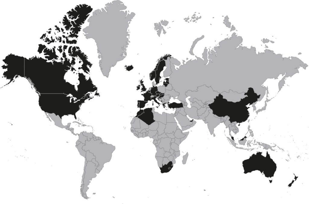 Countries visited by the bare traveller